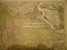 GRANDE ANTICA BELLISSIMA MAPPA GEOGRAFICA_HANNOVER_RARA CARTOGRAFIA A COLORI