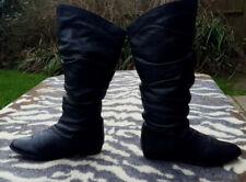 Vintage black leather slouch boots EU size 37, UK 4
