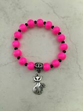 Bracelet 10mm Hot Pink Beads Silver Tone Lucky Cat Charm Bail Findings boho