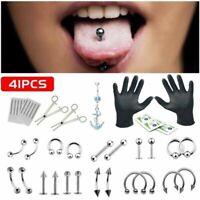 PRO 14G/16G Body Piercing Kit Needle Nipple Belly Tongue Eyebrow Nose Lip Tool