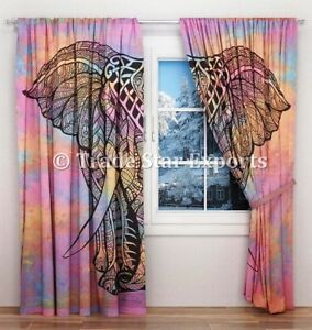 Indian Tie Dye Elephant Curtains Hippie Tapestry Room Decor Boho Door Drapes