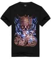 Skull Biker black T-Shirt (mens gothic motorcycle t shirt)