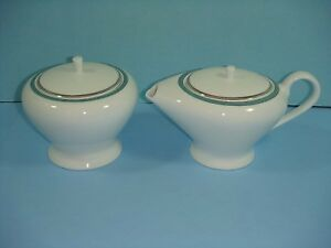 "NEW Mikasa Fine Bone China ""Connections"" Teal Sugar and Creamer"