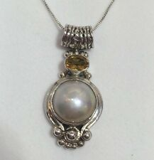 Vintage Sterling Silver Mabe Pearl Citrine Wheat Artisan Estate Pendant Necklace