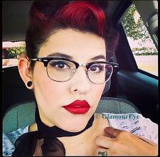 Square Brownline Black Gold Hipster Rockabilly PinUP Eyeglasses Frames 8457 M