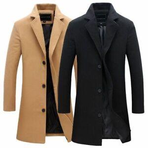 Men Single Breasted Long Jacket Trench Coat Artificia Wool Overcoat Warm Outwear