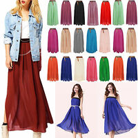 Women's Double Layer Chiffon Pleated Retro Elastic Waist Long Skirt Maxi Dress