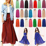 Women's Double Layer Chiffon Pleated Retro Elastic Waist Long Skirt Maxi Dress