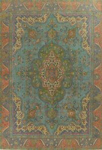 Vintage Floral Overdyed Tebriz Evenly Low Pile Wool Hand-knotted Area Rug 10x13