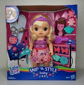 Baby Alive Snip 'n Style Baby Blonde Hair Talking Doll W/ Bangs That Grow