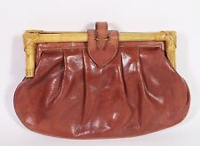 7B Damen Clutch Bag Tasche Leder braun Bambus-Griff Vintage Boho 70er