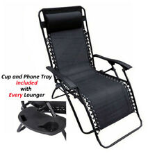 Zero Gravity Textoline Steel Frame Chairs Table Set Garden Reclining Lounger BLK