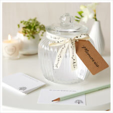 Glass Memory Jar & 50 Remembrance Cards - Funeral Memory Table, Condolence Book