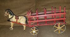 Antique Hand Carved Wooden Horse Pulling Red Cart W/Tin Wheels Pull Toy