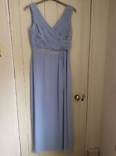 Jacques Vert Pale Blue Embellished Gown Size 12 Wedding/Special Occasion Dress