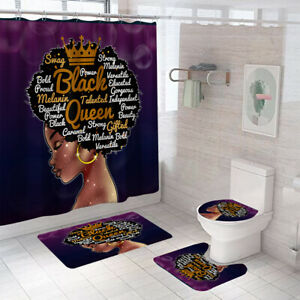 Black Queen Shower Curtain Bathroom Rug Set Bath Mat Non-Slip Toilet Lid Cover