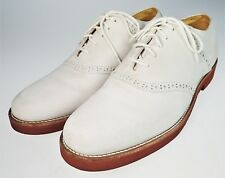 8M Churchill White Suede Nubuck Leather Lace Up Loafers Red Sole Vtg 90s