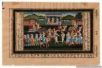 Indian Mughal Scene Procession Miniature Painting Hand Painted Folk Ethnic Harem