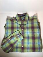 Alan Flusser Plaid Button Down Mens Shirt Size M Medium Plaid Stripe Long Sleeve