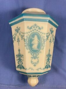 "ANTIQUE CUSTARD GLASS BABY BLUE CAMEO DESIGN ART DECO  LIGHT SHADE 4"" FITTER"