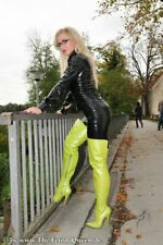 Leatherworks crotch boots 15 cm Sexy green fetish overknee high heels 42 43 uk10