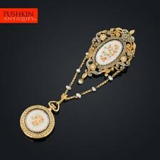 ANTIQUE 19thC SWISS 18K GOLD, ENAMEL & PEARL-SET WATCH CHATELAINE c.1880