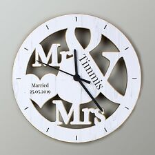 Personalised Mr & Mrs Shape Wooden Clock Wedding Clock Newlywed Gift Anniversary