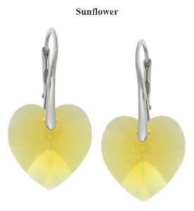 Sterling Silver Earrings made with 6228 Heart 14mm Swarovski® Crystals