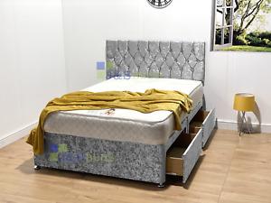VELVET CHESTERFIELD DIVAN BED SET + MEMORY MATTRESS 4FT6 Double 5FT King