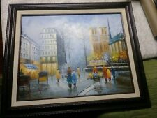 Original Oil Painting S. Hofner Signed French Street Vintage Art Impressionism