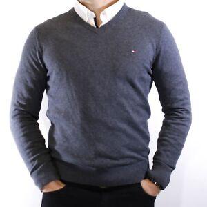 NWT Tommy Hilfiger Men's Gray V-Neck Pima Cotton Cashmere Sweater Size M