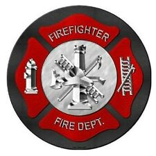 Fire and Rescue Firefighter Novelty Metal Circular Sign 12""