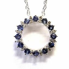"""925 sterling silver sapphire white topaz pendant necklace 2.9g 18"""" womans lady"""