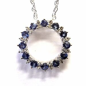 """925 sterling silver natural sapphire white topaz pendant necklace 2.9g 18"""""""