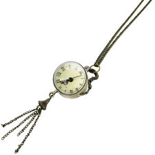 Vintage Antique Solid Brass Clock Pendant Long Chain Necklace Steampunk Jewelry