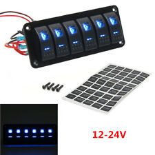 12V/24V 6-Gang Dual LED Light Car Marine Boat Rocker Switch Panel Custom Breaker