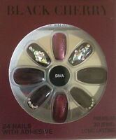False nails BLACK CHERRY Diva 3D JEWELS 24pk adhesive included PS...