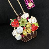 Betsey Johnson Enamel Crystal Strawberry Ice Cream Pendant Chain Necklace/Brooch