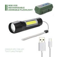 Mini USB Wiederaufladbare Zoomable 2000LM XPE COB LED Taschenlampe Penlight NEU
