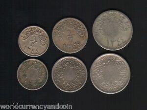 HEJAZ & NEJD 1/4 1/2 1 GIRISH QIRSH 1344 RARE 3v COIN COMPLETE SET SAUDI ARABIA