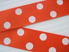 "7.8"" Grosgrain ribbon~POLKA DOTS~Color Orange~2 yards"