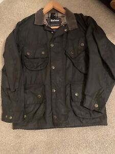 Barbour Waxed Jacket Navy Size Small - Medium, Dark Green/black