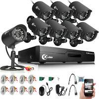 XVIM 8CH 1080P HDMI DVR Outdoor Night Vision 1500TVL CCTV Security Camera System