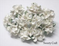 10 White  Mulberry Paper Rose Flower handmade size 2.5 cm. ( 25mm ) card SW030