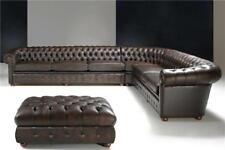 klassische Ecksofa Eckcouch Couch Sofa Polster Leder Sitz Chesterfield Garnitur