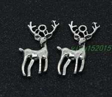 Tibetan silver charm pendan Sika deer fit DIY Necklace 10-150pcs 2g 28x13mm