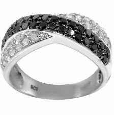 Real Pave Black & White Diamond 9ct 375 Solid White Gold Ring- Bravo Jewellery