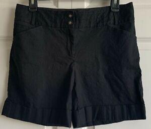 White House Black Market Black Cuffed Shorts-Linen, Rayon, Spandex-Size 6