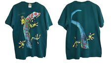 Vtg Habitat Men's Green Double Sided Multicolor Cayman Islands Lizard Shirt Sz L