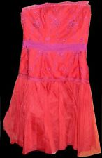 PEARL GEORGINA CHAPMAN woman's 8 red/hot pink 100%polyester new knee-length
